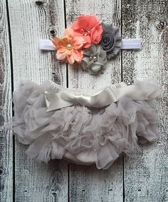 Loving this Gray Tutu Bloomers & Floral Headband on #zulily! #zulilyfinds