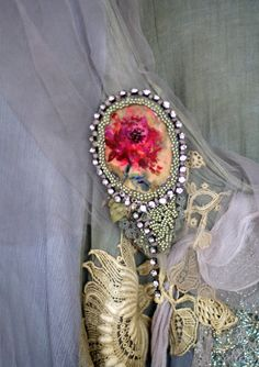Peony embroidered and beaded brooch with hand by FleurBonheur