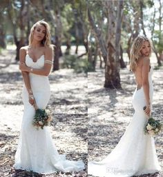 2016 Country Style Lace Wedding Dresses Bohemian Speghetti Strap Sexy Backless Vestidos De Noiva Sleeveless Sweep Train Bridal Gowns Wb Wedding Dresses Online Cheap Wedding Gowns For Sale From Myerdresses, $170.06| Dhgate.Com