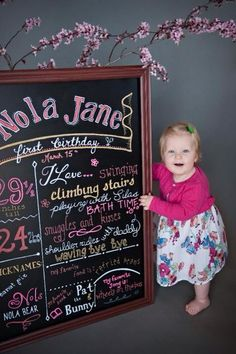I made this chalkboard for Nola's first birthday pictures. Fun facts at age 1. Frame was made with crown molding and liquid nails. Then used chalk markers and fancy fonts.
