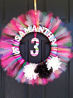 Birthday Tutu Wreath with Name and Number by www.BlissyCouture.net
