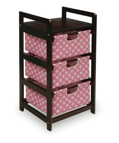 Take a look at this Pink Polka Dot Three-Drawer Hamper/Storage Unit by Badger Basket on today! This would be great for his diapers! Maybe not pink though.