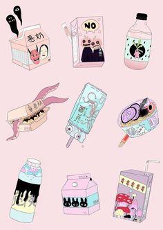 Character Illustration, Illustration Art, Unicorn Illustration, Ouvrages D'art, Creepy Cute, Pastel Art, Illustrations, Soft Grunge, Grunge Style