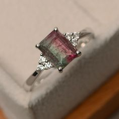 Natural tourmaline ring sterling silver watermaline by LuoJewelry