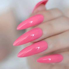 Pink Stiletto Nails, Toe Nails, Pink Nails, Colorful Nail Designs, Nail Art Designs, Long Press On Nails, Nail Store, Nail Length, Spring Nail Art