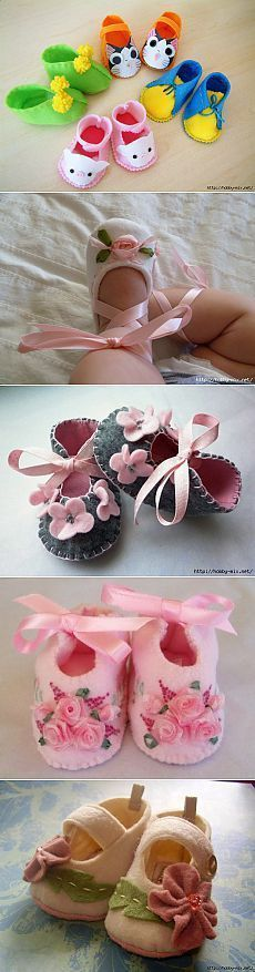 bonitos zapatos hechos de fieltro para niños pequeños. Inspiración patrones.