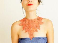 Enusia // Handmade Orange Cotton Lace Necklace Applique Golden Chain