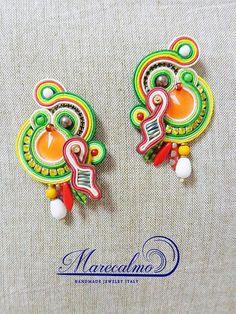 Neon orange boho earrings Soutache costume earrings