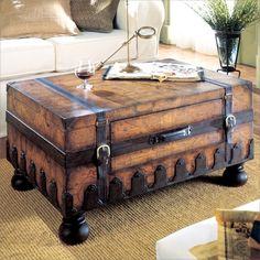 Butler Heritage Trunk Table On Sale Laminated Old World Map Surface With Glaze And Lacquer