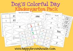 "FREE Printable Kindergarten Pack to go with the book ""Dog's Colorful Day"""