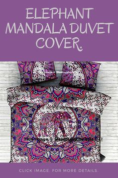 "From the seller ""* Duvet set has Base on Mandala Pattern have been crafted. * Back side has a Same design Pattern in Duvet Cover . * Whole Set in same Pattern. * Inside hidden Loops for enclosure in Duvet Cover. * Duvet Size = 84x84'' pillow size = 18x28'' Wash =Dry Clean Only or Hand Wash In Cold Water. Prints = Hand Screen Printed"" Blanket Cover, Quilt Cover, Duvet Cover Sets, Pillow Covers, Elephant Duvet Cover, Handmade Bedding, Mandala Duvet Cover, Mandala Pattern"
