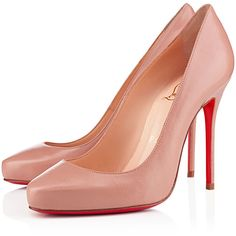 Christian Louboutin Elisa ($625) ❤ liked on Polyvore featuring shoes, pumps, christian louboutin, louboutins, nude, leather pumps, leather high heel pumps, nude leather shoes, leather footwear and nude shoes