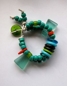 Bracelet African blue and green beads by AnAstridEndeavor on Etsy, $30.00