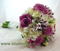 BW-158 Bridal bouquet of lavender roses, white hydrangea, ivory spray roses and Mayfair alstroemeria; Jim Ludwig's Blumengarten; www.blumen.com