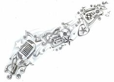 Music sleeve tattoo idea - replace mic with trumpet and stereo with handbell(?) and maybe some additions. Oh and a few punches of COLOR!