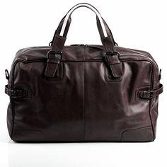 baccini sac de voyage roberto besace weekend fourretout marron en cuir veritable