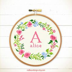 Initial Cross stitch pattern PDF - Floral wreath with Alphabet - Instant download - Art Initial Monogram- Spring Inspiration baby nursery