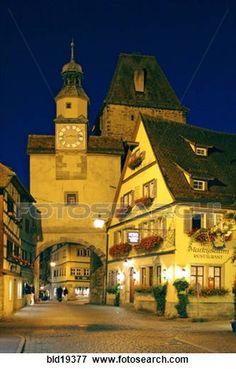 Alemania, Baviera, Rothenburg ob der tauber, Markusturm, Roederbogen, Roederbrunnen,