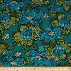 Kanvas Bohemian Rhapsody Metallic Boho Flower Turquoise from @fabricdotcom  Designed by Greta Lynn for Kanvas, in association with Benartex, this cotton print fabric is perfect for quilting, apparel and home decor accents. Colors include navy, olive, turquoise and metallic gold.