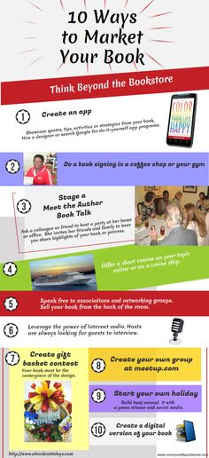 Where Writers Win on author Marketing by Shari Stauch- Reader Flora Morris Brown offered up a cool infographic  from her own site at coloryourlifepublished.com. A fun way to continue the author marketing brainstorm on ways we can market our work beyond the book store.