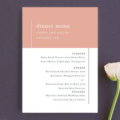 """""""Evermore"""" - Customizable Menu Cards in Orange by carly reed walker. Wedding Favor Tags, Wedding Menu, Wedding Programs, Prime Rib Of Beef, Wedding Stationery, Wedding Invitations, Whipped Potatoes, Reception Card, Menu Cards"""