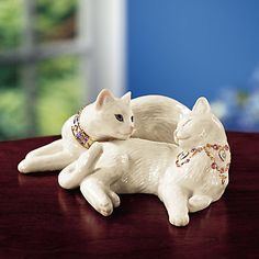 """Lenox """"Dream of Me"""" Cat Sculpture. Small (5 3/4""""). $US49.95. Very sweet. And cats do behave just like that."""
