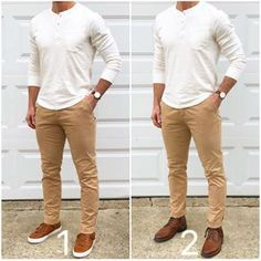You can take classic essentials like this henley and chinos, and easily make totally different outfits just by changing up your shoes❗️ Which way would you wear it❓ With sneakers❓ Or, with boots❓ Henley: @jachsny Slub Cotton Long Sleeve Henley in White Chinos: @jachsny Khaki Bowie Fit Stretch Cotton Chino Sneakers: @greatsbrand Royale High Cuoio Boots: @thursdayboots Brandy Captain #Mensoutfits