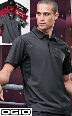 #ogio #mens #polos $38.98 Gear up for adventure in this polo energized with rib knit panels under the arms and an angled zippered pocket on the right chest.  Features: 5-ounce; 100% poly with stay-cool wicking technology; triple-needle stitching throughout; OGIO heat transfer label for tag free comfort; self-fabric collar; OGIO jacquard neck tape; raised OGIO inner placket webbing tape; 3-snap square placket with OGIO debossed metal snaps; open hem sleeves; OGIO badge on left sleeve; side… Corporate Outfits, Business Outfits, Uniform Shirts, Polo T Shirts, Sport T Shirt, Sport Wear, Mens Golf, Mens Tees, Golf Apparel