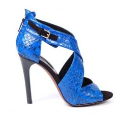 Blue snakeskin statement heels by Derek Lam are our new faves. #shoes #heels #sandals