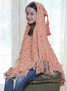 Orange poncho for girls  unique poncho  by VeselinkaHandmade