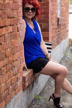 Cobalt Tank , Black Shorts, Black Peep Toes Sandals, Dressy Shorts Look, Marmi Shoes, Date Night look, Summer Looks for Women, Red Hair, Budget Fashion Blog, Shorts over 40, Fashion over 40