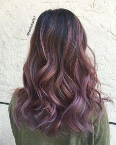 Light purple hair ash purple hair, purple hair highlights, purple b Purple Brown Hair, Balayage Hair Purple, Purple Hair Highlights, Light Purple Hair, Hair Color Purple, Light Brown Hair, Light Hair, Ash Brown, Lavender Highlights