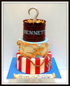 Pretty Cakes, Cute Cakes, Beautiful Cakes, Amazing Cakes, 5th Birthday Cake, Birthday Star, Pirate Birthday, Pirate Party, Cake Designs For Kids