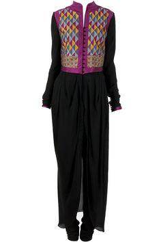 Black cowl draped waistcoat kurta set by payal pratap