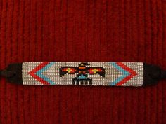 I have hand beaded this deer skin suede bracelet. The beading is a traditional Native American thunderbird design. Indian Beadwork, Native Beadwork, Native American Beadwork, Native American Jewelry, Bead Loom Patterns, Peyote Patterns, Beading Patterns, Loom Animals, Beaded Hat Bands