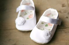 White christening shoes baby girl slippers by MartBabyAccessories