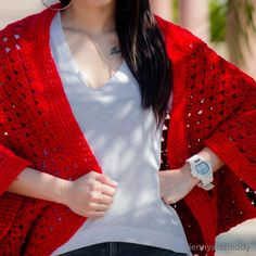 Red Cardigan which is part of a collection including 10 Free Crochet Cardigan Patterns all from AllFreeCrochet compiled by Nicki's Homemade Crafts - Crochet Cardigan, Crochet Jacket, Crochet Sweater, Crochet Wrap, Crochet Shawl Crochet Cardigan Pattern, Crochet Jacket, Afghan Crochet Patterns, Crochet Shawl, Crochet Vests, Crochet Shrugs, Crochet Stitches, Knitting Patterns, Crochet Cocoon