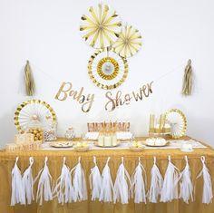 Baby Shower Party Oh Baby en blanc et doré sur la boutique