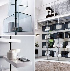 Hanging precariously (and sometimes off-center) on thin metal poles or, these simple sets of wood shelves and glass boxes seem to hover in the air. Better yet: some of the units spin on their axis, rotating to display books or other decorative objects. Designed by T. Colzan, these Domino shelvin ...