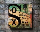 Chicago White Sox baseball club graphic art on canvas 16 x 16  by stephen fowler
