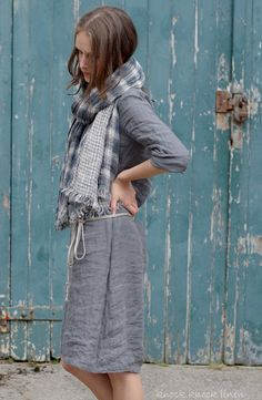 Grey Linen Trapeze Dress by KnockKnockLinen on Etsy