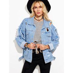 Blue Ripped Denim Jacket ($40) ❤ liked on Polyvore featuring outerwear, jackets, print jacket, denim jacket, lapel jacket, blue jean jacket and short-sleeve jackets