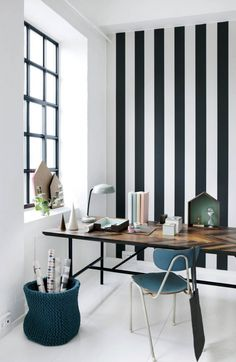 Home office with strong stripes