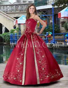 Red Ball Gown Embroidered Floor-length Dress