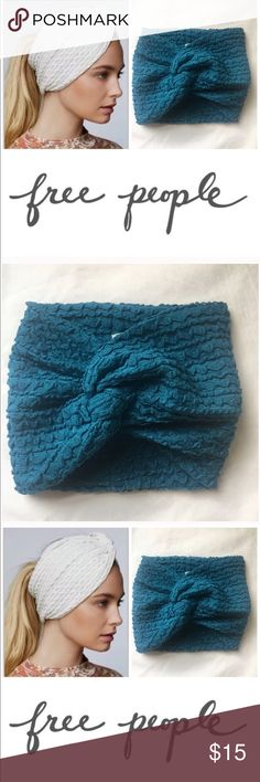 Free People Wide Headband Hair Wrap Boho Blue New Free People Wide Headband in Blue only check my closet for the Ivory one. $24 retail brand new without tag. Never worn, perfect condition. Twisted stretch Headband. Super comfy. Super cute! Free People Accessories Hair Accessories