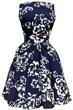Lady Vintage Navy Bliss Floral Tea Dress