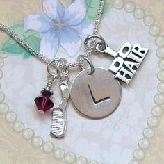 I do Hair Hand Stamped Sterling Silver Initial Charm Necklace