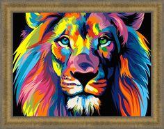 Багет, рамка для картины, оформление картины, картина по номерам, раскраска по номерам, paint by numbers, оригинальный подарок - Радужный лев Ваю Ромдони - Zvetnoe.ru - картины по номерам