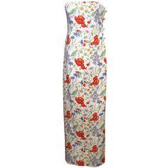 Bill Blass Floral Print Strapless Gown