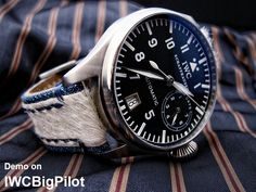 Miltat Zizz collection beige fur & blue denim watch band demo on IWC Big Pilot